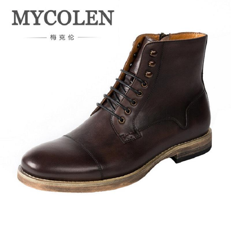 MYCOLEN 2017 Fashion Ankle Boots Winter Autumn Men Motorcycle Martin Boots Genuine Leather Comfortable Men Boots Chaussure Homme free shipping autumn winter genuine leather men s work ankle boots martin boots british style western cowboy boots for men botas