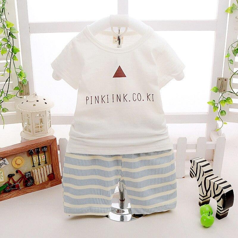 Новинка лета 2016 с принтом букв футболка + штаны в полоску 2 шт. комплекты одежды для мальчиков Roupa Infantil новорожденных костюм для мальчика для ... ...