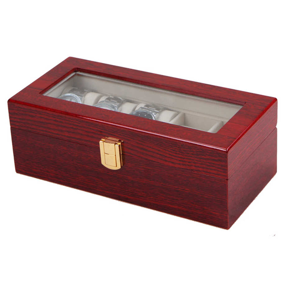 Luxury Watch Boxes 5 Slots MDF Wristwatch Packaging Box Rectangle Storage Boxes for Expensive Watch Display Collection Red gift