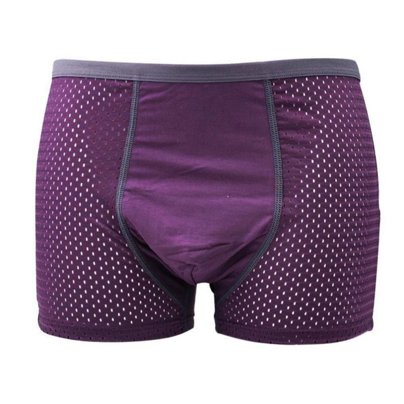 1PCS Men Boxers Solid Bamboo Fiber Mesh Angle Men Underwear Breathable Antibacterial U Convex Modal Men's Shorts Newest