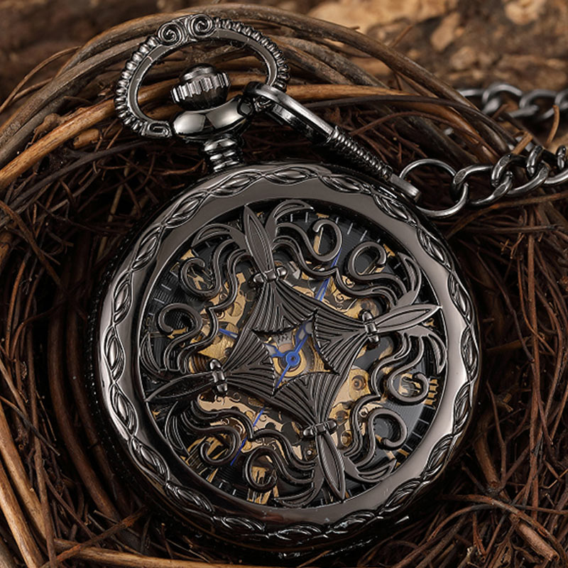 Antique Mechanical Pocket Watch Hollow Black Dial Hand-Winding Men Pendant Collection Fob Chain Watch Skeleton Steampunk Clock