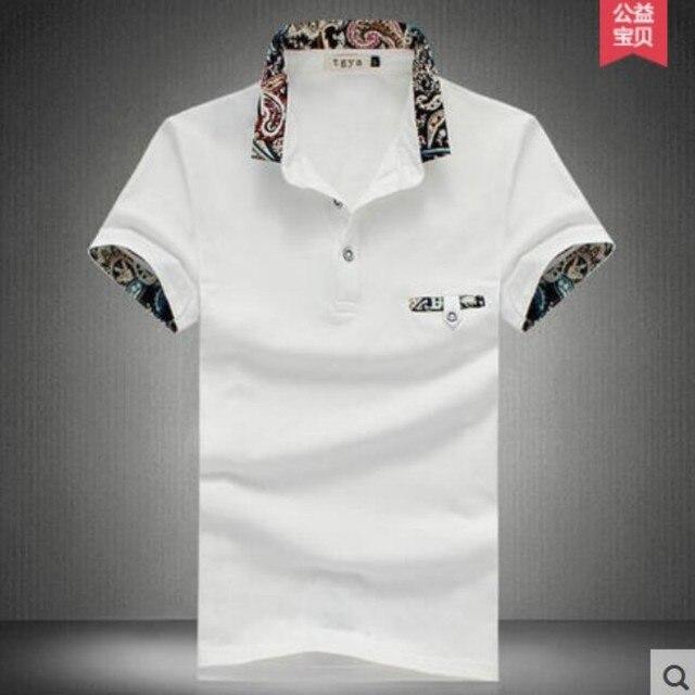 2016 Verano Nueva Moda Para Hombre Jersey de Cuello Slim Fit Floral Impreso Personalizada camisas Casuales Más El Tamaño 100% de Algodón Tes de Las Tapas