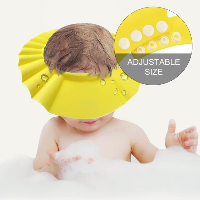 1 PCS 26*28.5 cm Safe Waterproof Protect Eyes Hair Shower Bathing Tools For Kids Adjustable EVA shampoo cap 5