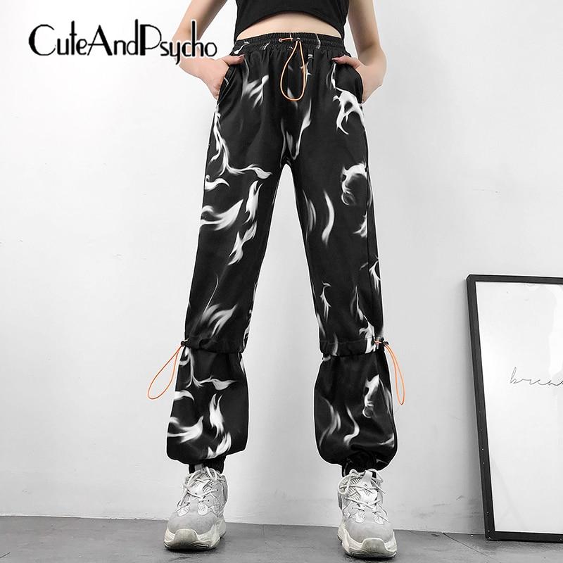 Bloom Print Sweat Pants Women Elastic High Waist Trousers Harajuku Jogger Hip Hop Pants Capris Streetwear Summer cuteandpsycho