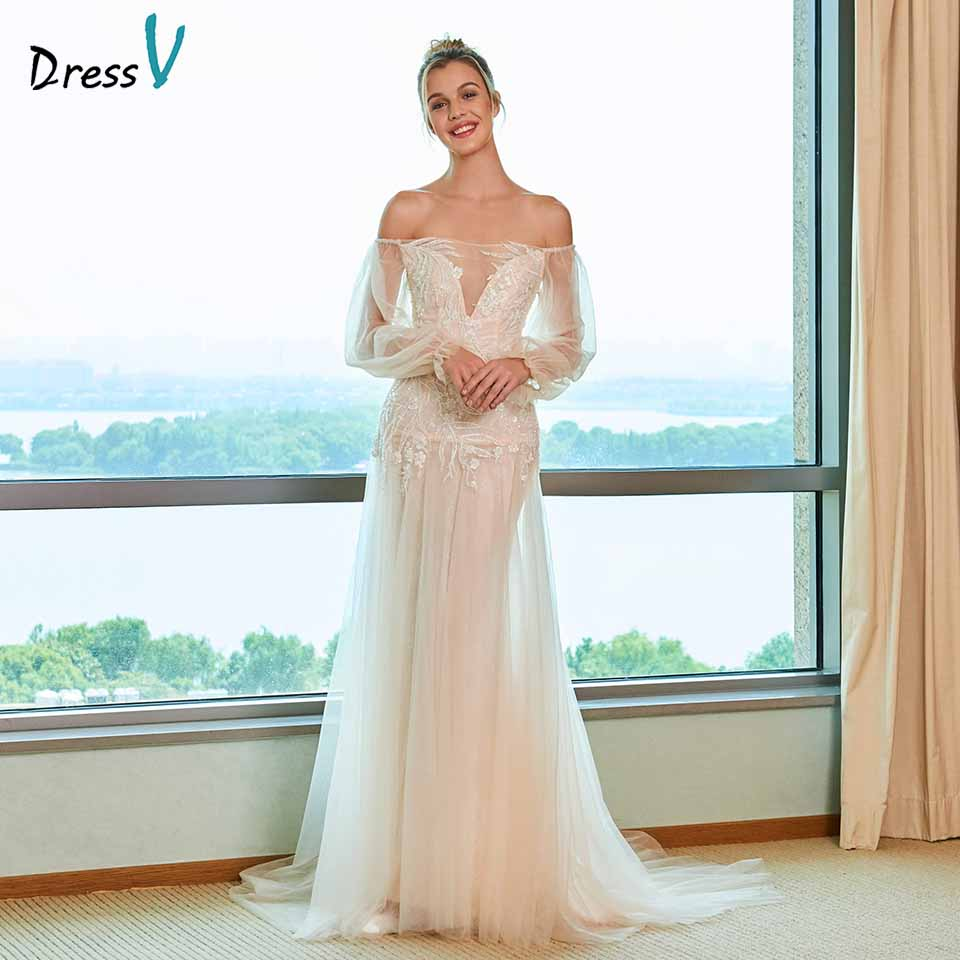 Dressv elegant sheath wedding dress off the shoulder sweep train long sleeves floor length bridal outdoor&church wedding dresses