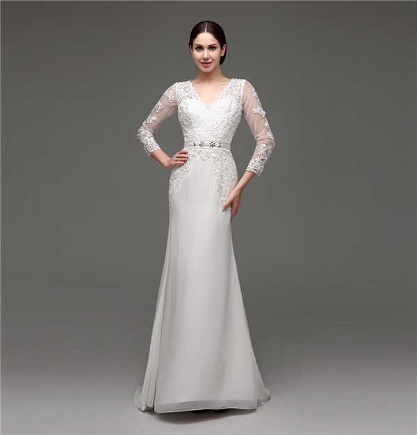 Floor-Length V-Neck Lace Chiffon Full Sleeves Wedding Dress 1
