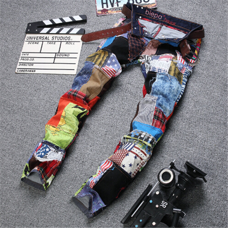 ФОТО 2016 New Fashion Men Jeans Work And Leisure Party Fear Of God True Religious Designer Overalls Clothes Distressed Sale Jeans