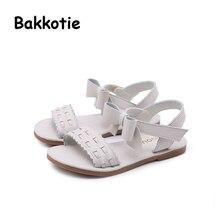 Bakkotie 2018 nueva moda verano niña dulce princesa arco sandalia niños Rosa  pisos lindo niño zapatos 65d74057b3ef