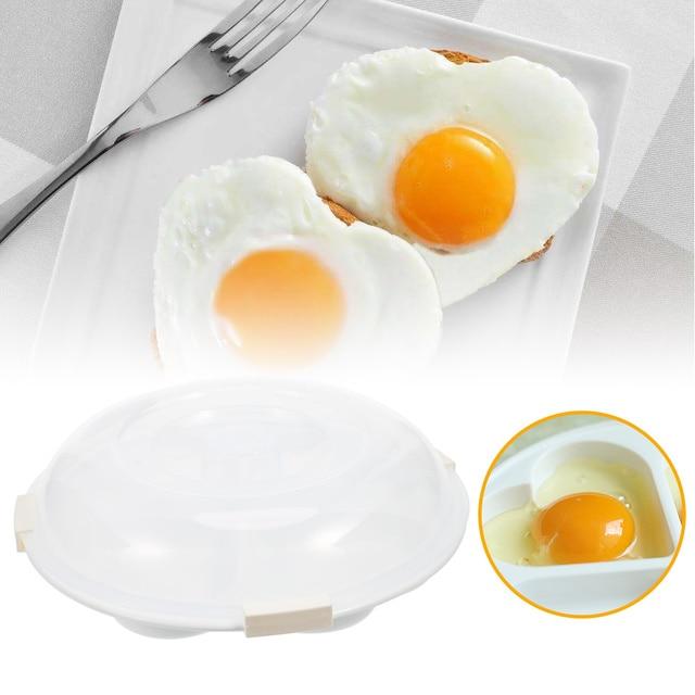 4 Holes Microwave Oven Egg Poacher Heart Shape Breakfast Mold Nonstick Boiled Steamer Kitchen