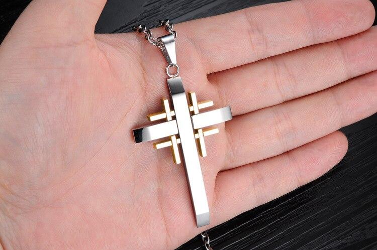 Купить ожерелье с подвеской крестом из нержавеющей стали
