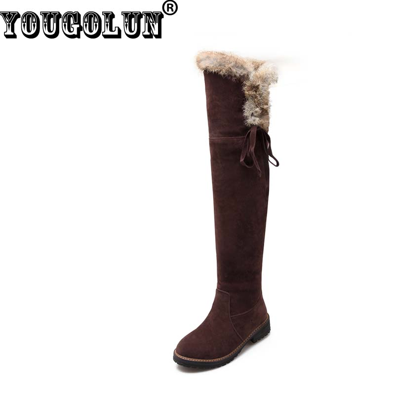 YOUGOLUN Winter Women Snow Boots Thigh High over the Knee Cross Strap Low Square Heel Fur