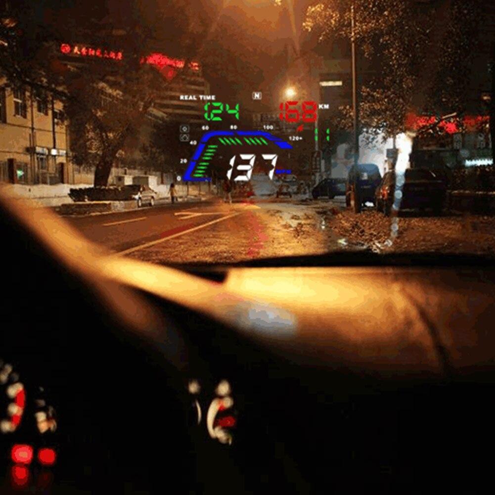 Voiture HUD GPS affichage tête haute 5.5 pouces coloré tableau de bord LED projecteur système d'avertissement de vitesse XR657