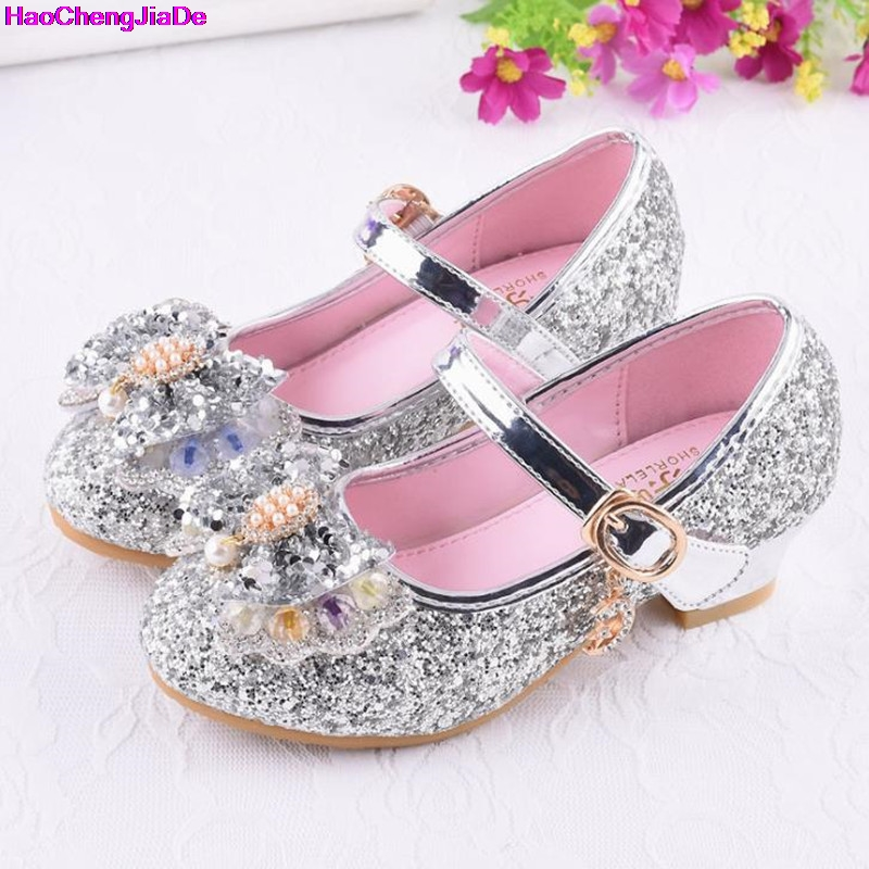 HaoChengJiaDe Girls Silver Party Wedding Shoes Princess Shoe Leather Glitter Crystals Rhinestones Wedge Butterfly Knot Kids Shoe