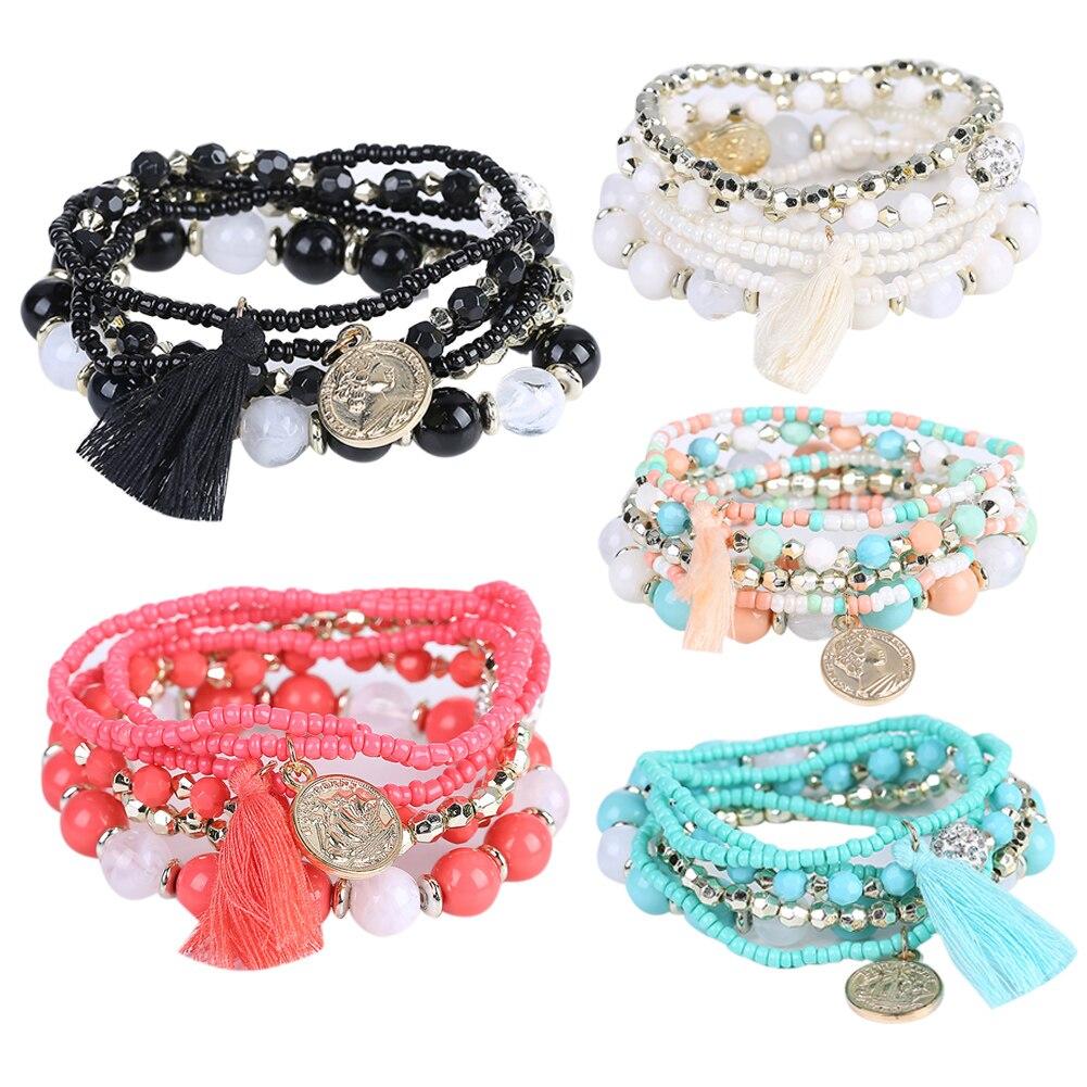 Women Bohemia Style Chain Multilayer Metal Bracelet Candy Beads Tassel Fashion Bracelets Bangle Women Exquisite Jewelry Gift