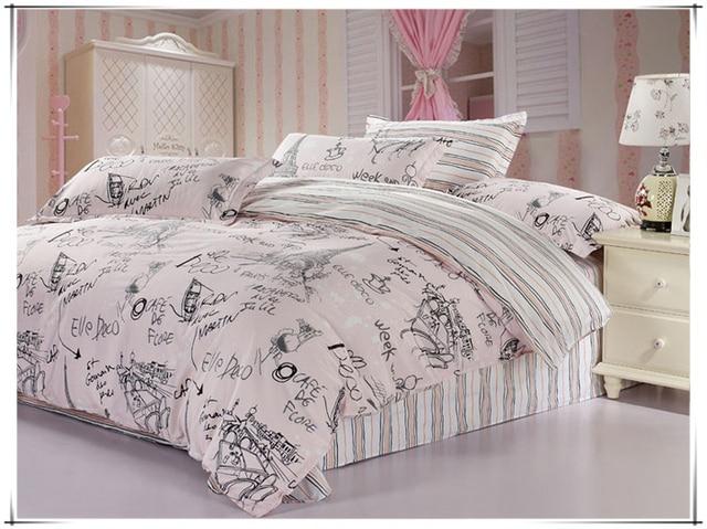 bedding set 100 cotton paris eiffel tower reactive printed bed setbedclothes duvet cover - Paris Bedding
