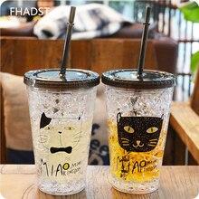450 ml nueva botella de hielo 4 gato estilo super cool batido café Tapa Vaso de Jugo De Botella De Plástico De Bebidas de Agua Con Paja Drinkware