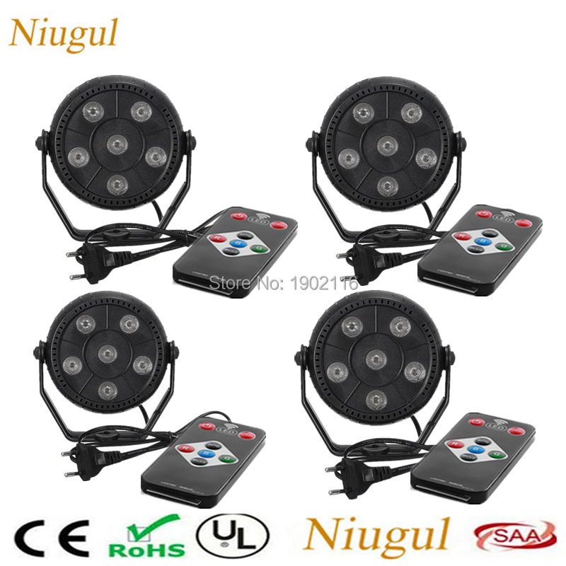 4pcs/lot Wireless Remote control 6x3w 3 IN 1 Slim RGB Magic Effect Par Stage Lights For Party Home KTV Bar Disco Mini LED Lamp