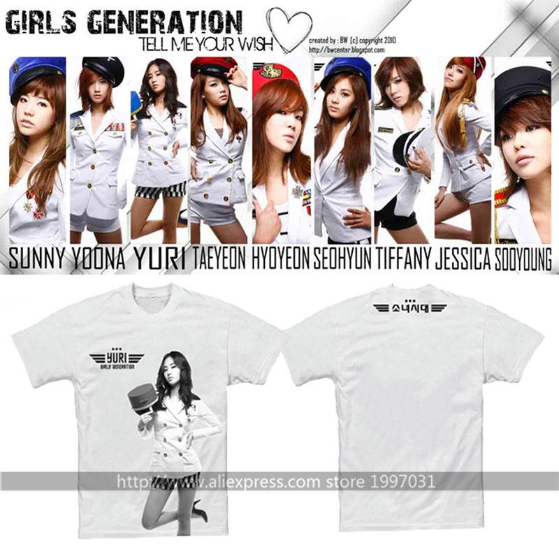 US $12 0 |Kpop Girls Generation SNSD Genie YOONA YURI JESSICA SOOYOUNG  TAEYEOM HYOYEON SEOHYUN SUNNY Short sleeved T shirt-in T-Shirts from Men's