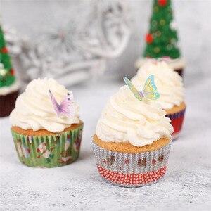Image 3 - 42 sztuk mieszane motyl jadalne kleisty wafelek z papieru ryżowego Butterfly ciasto Cupcake wykaszarki urodziny tort weselny dekoracji
