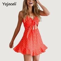 Yojoceli Bow lace up estrela imprimir mulheres verão vestido vermelho Chiffon oco out praia cinta vestido curto Plissado vestidos vestidos