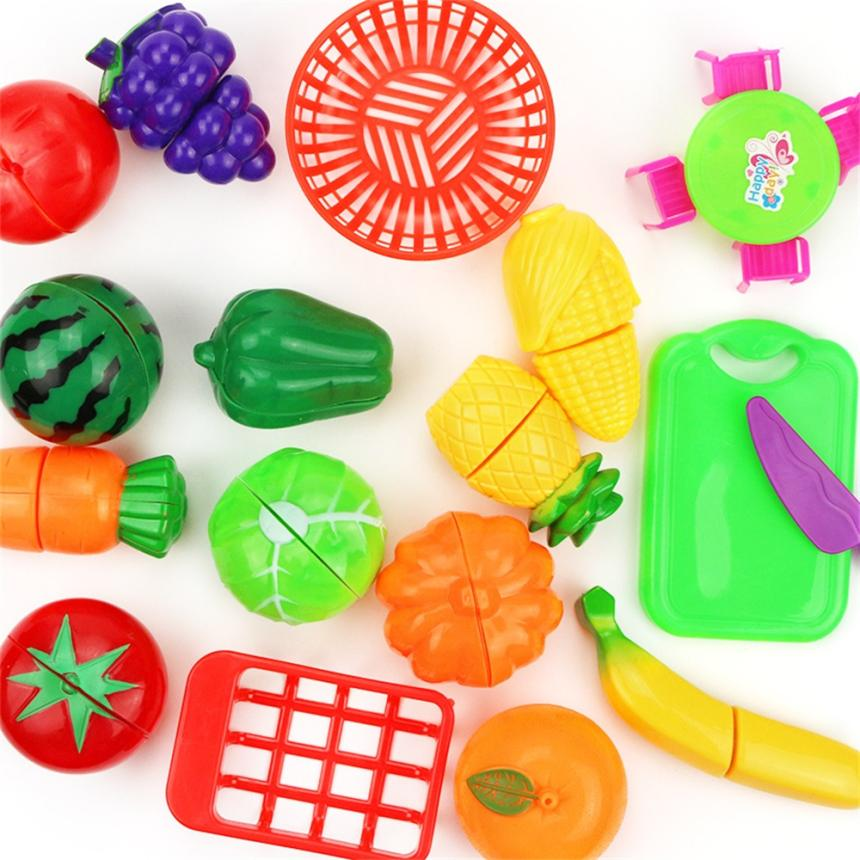 17PC Cutting Fruits Vegetables Pretend Play Children Kids Gift Educational Toy 100% brand new and high quality Education Toy