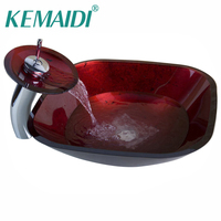 KEMAIDI Red Chrome Basin Tap+Bathroom Sink Washbasin Glass Hand Painted Lavatory Bath Sink Combine Set Torneira Mixer Faucet