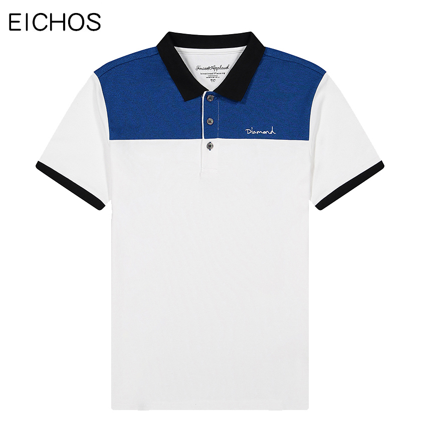 Mens   polo   tops Color Block Patchwork   polo   tee shirts Summer Breathable Cotton Short Sleeve poloshirts Men Brand Clothing EICHOS
