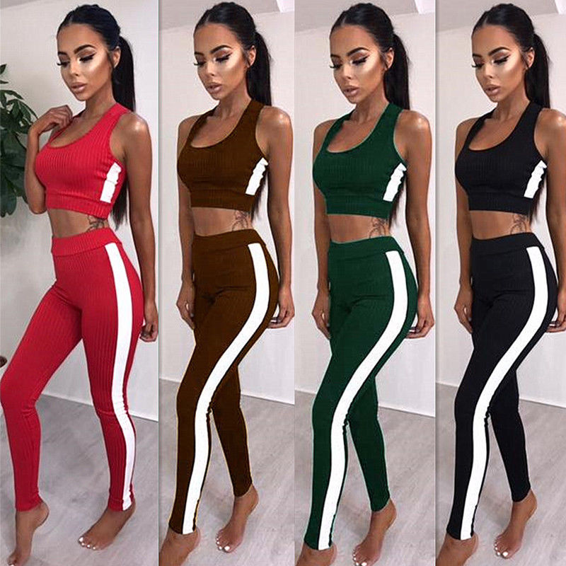 Women Ladies Jumpsuit Active Wear Fitness Strap Crop Tank Top + Stretch Pants 2Pcs Set ...