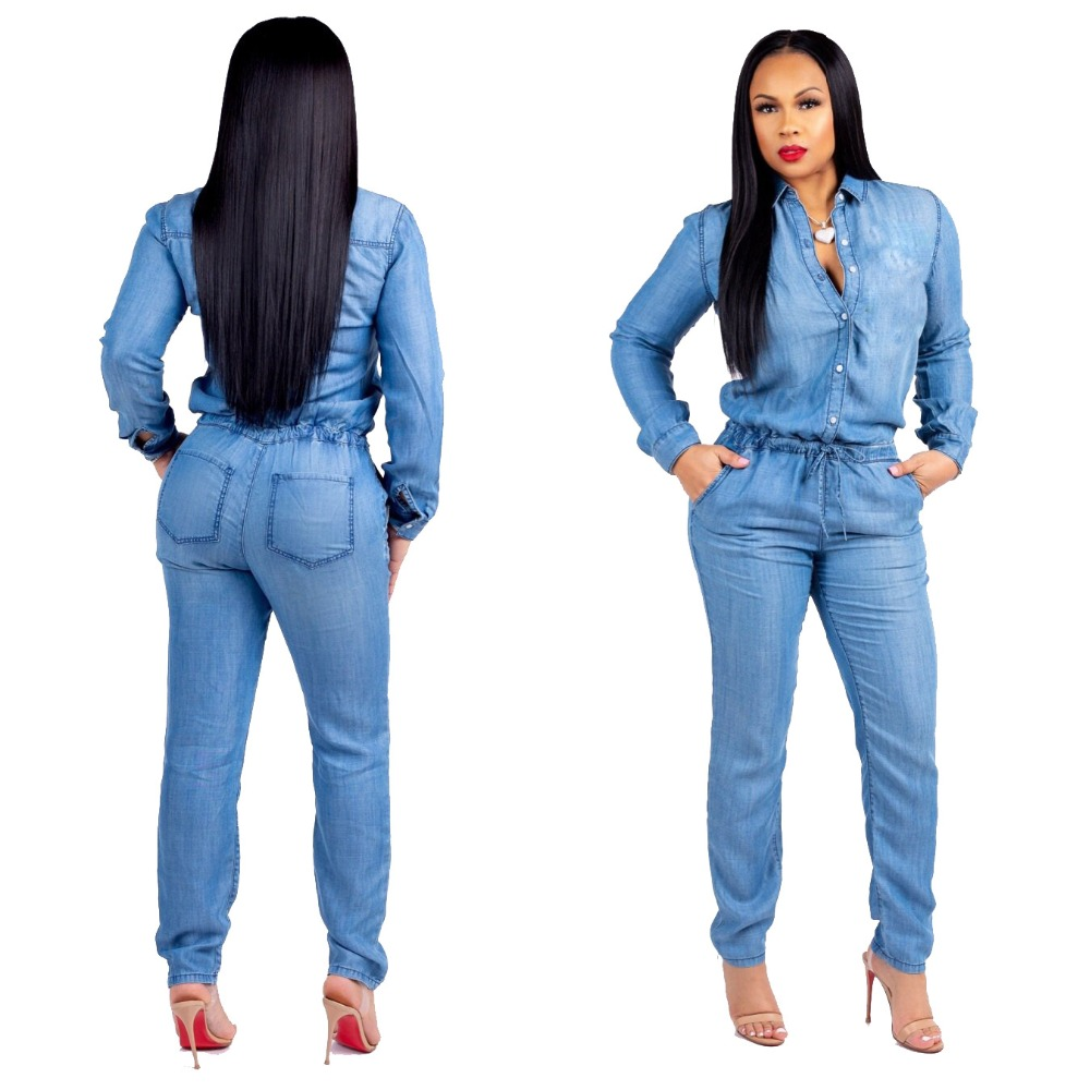 Useful Fashion Women Lapel Sashes Hole Straight Denim Jumpsuits Casual Blue Long Sleeve Pocket Sexy Loose Jeans Jumpsuit Women's Clothing