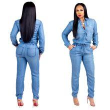 Женский джинсовый комбинезон, Облегающий комбинезон с длинным рукавом, Клубные комбинезоны, SMR9021
