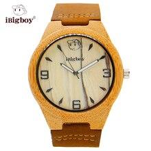 Zebrawood iBigboy Hermosos Relojes De Madera Blanco Correa de Cuero Del Reloj Del Cuarzo de Japón IB-1604Aa