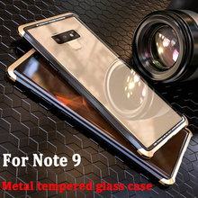 Для samsung galaxy Note 9, металлический корпус из закаленного стекла, пластиковая задняя крышка для samsung galaxy Note9, корпус из алюминия, прозрачные чехлы