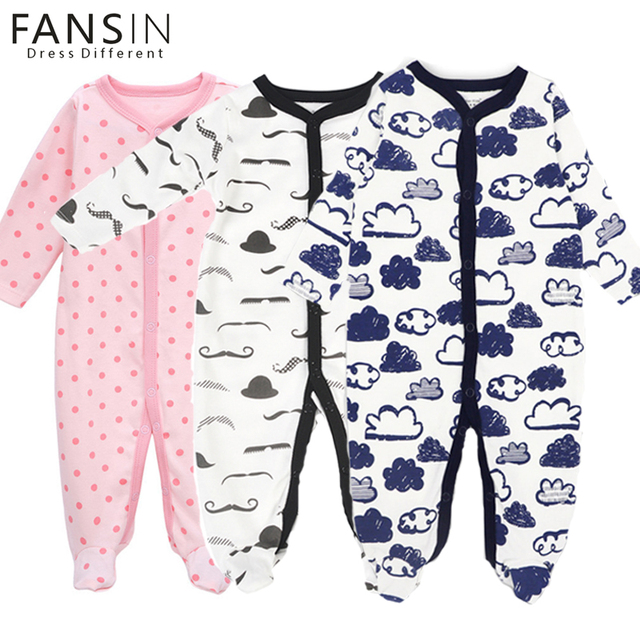 FANSIN Romper Do Bebê 100% Algodão de Manga Comprida Macacão Rompers Recém-nascidos Roupas Da Menina do Menino Macacões de Uma Peça para o Outono Inverno