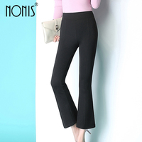 Nonis Winter Office Lady women High Elastic waist Simple Ankle length Flare pant Slim fit Black Bell Bottom Trousers