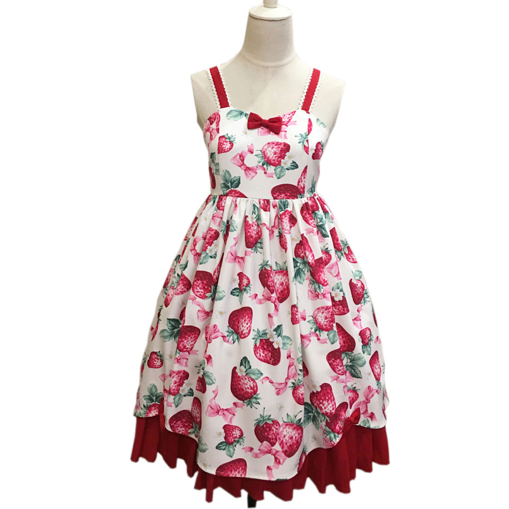 Sweet Strawberry ~ Printed Casual Empire Lolita Midi Dress with Criss-cross Back