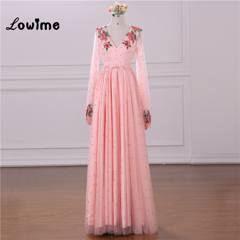 Pink Embroidery Floral Evening Dress V Neck Long Sleeves Prom Dresses 2018 Custom Made A Line Women Arabic Party Gown Formal