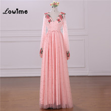 Pink Embroidery Floral V Neck Long Sleeves Prom Dresses