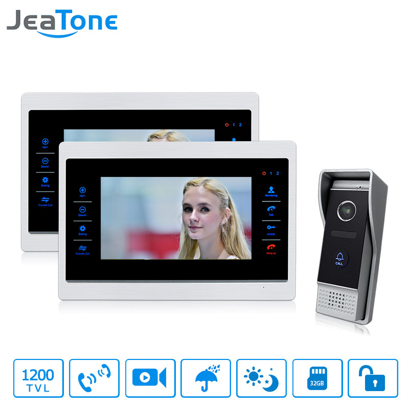 1 to 2 Wired Video Door Phone Doorbell Intercom 7 inch Touch-Button Monitor + 1200TVL Waterproof Security Camera Call Panel