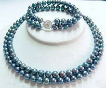 Beautiful 2 Rows Real Black Blue Pearl Flower Clasp Necklace17″ Bracelet8″
