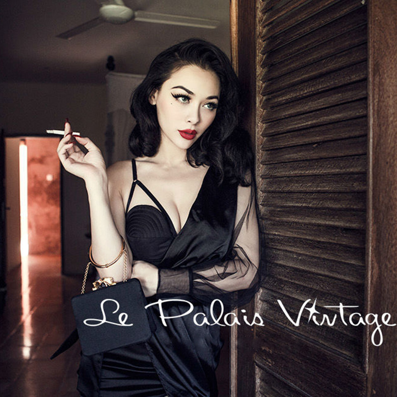 FREE SHIPPING Le Palais Vintage Sexy Black Satin shoulder corset irregular sleeve dress wrapped yarn asymmetrical