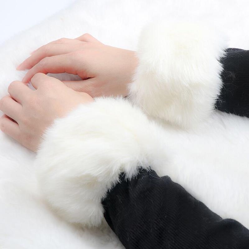 Women's Accessories Well-Educated Thicken Women Winter Warm Wrist Arms Gloves Rabbit Faux Fur Bracelet Cuff Wristband Plush Elastic Oversleeve Arm Warmmer 8c1574