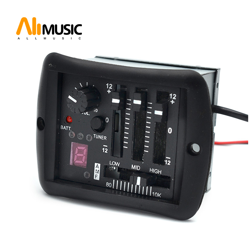 3 Band EQ Equalizer Tuner system with 6.35mm Output Jack Guitar EQ pickup with tuner for Acoustic guitar