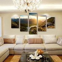 5 Sztuk/zestaw Sunrise widok Z Plaży Dekoracji Ściany Sztuki Na Ścianie Wystrój Domu Malowanie Obrazu na Płótnie Malarstwo oprawione