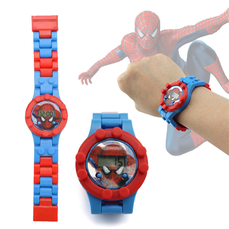 Batman Spiderman Superman Super Hero Building Blocks Watch Bricks Compatible Legoed LegoING Toys For Children Kids Watches Gift
