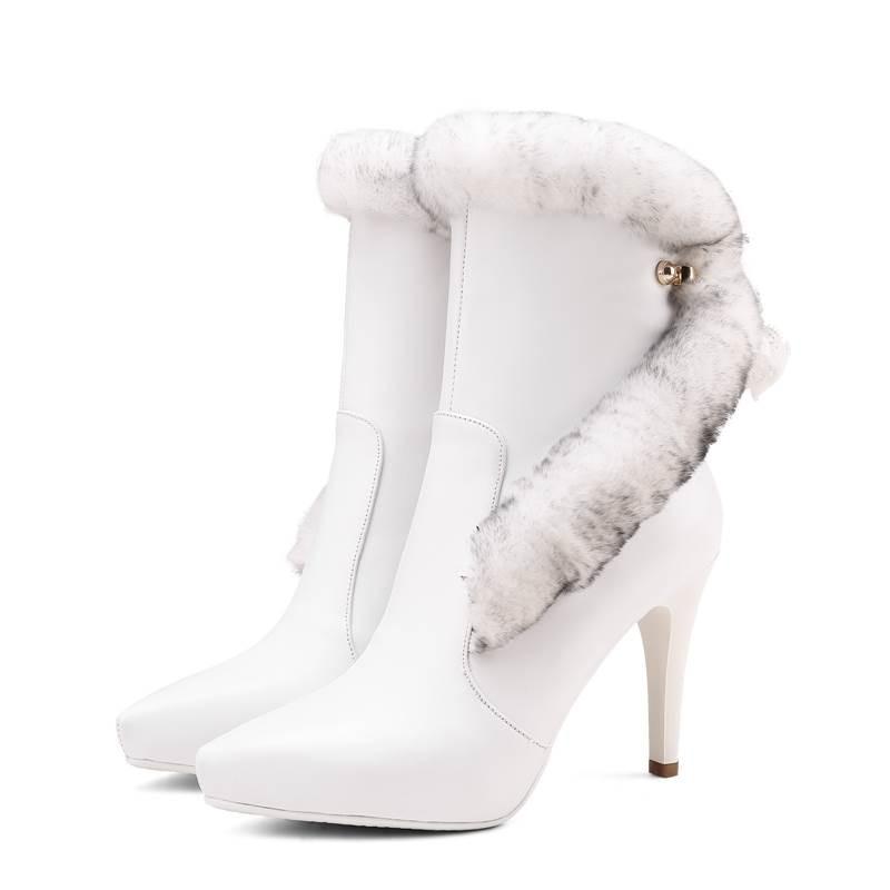 Super Talón Hot Genuino Cuero Negro Cremallera Alta Piel blanco Mujeres  Invierno 2018 Stiletto Del Punta Moda Dedo Pie De Las Botas ... e7928c83512b