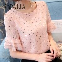 ROPALIA для женщин шифоновая блузка Топ короткий рукав повседневное широкая блуза горошек печати тонкая рубашка
