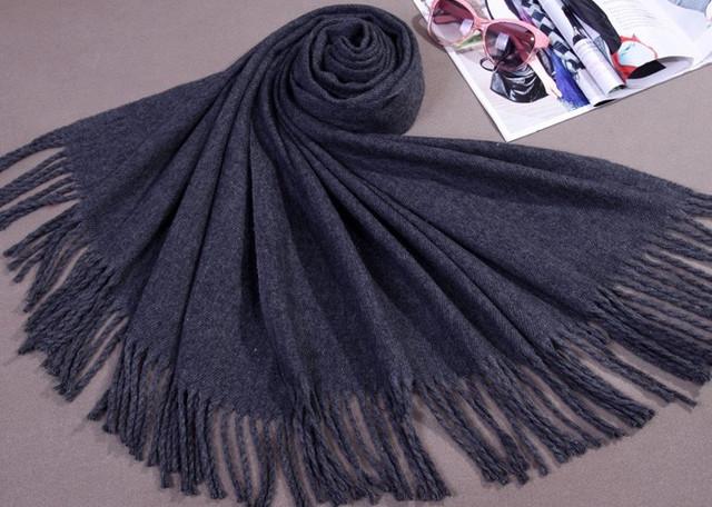 Venda quente Cinza Mulheres Chinesas Faux Cashmere Xale Inverno Envoltório Nova Xale grosso Borlas Cape hijab Mujere Bufanda 180x69 cm WS009
