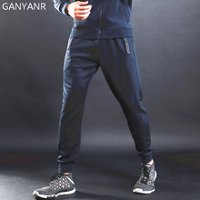 цена на GANYANR Brand Running Pants Men Athletic Sports Leggings Training Gym quick Dry Long Trousers Slim Fitness Football Sweatpants