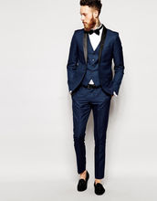 2016 Custom Made Fashion Navy Blue Men Slim Fits Suits Men's Tuxedos Groom Tailcoat Wedding Suits Formal Suits