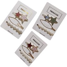 3Pcs/Set Korean Womens Contrast Color Star Frog Bobby Pins Hollow Geometric Metallic Hairpins Imitation Pearl Beading Barrettes